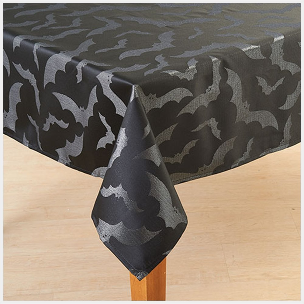 Black with Silver Sparkle Bats Halloween Fabric Tablecloth (60 Inch Round)