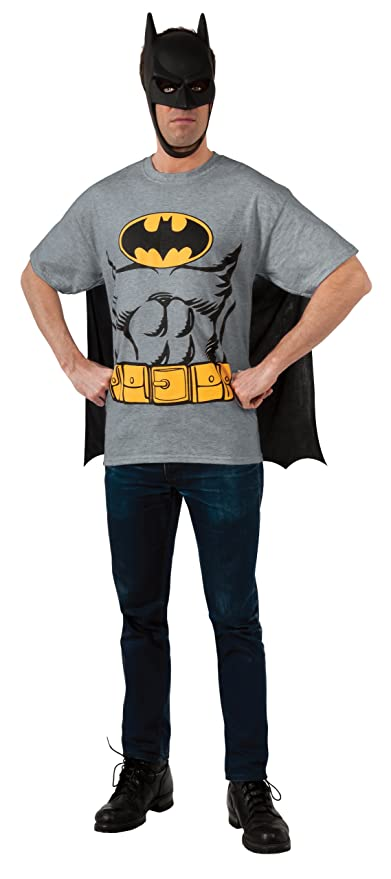 DC Comics Batman T-Shirt With Cape And Mask, Black, Large
