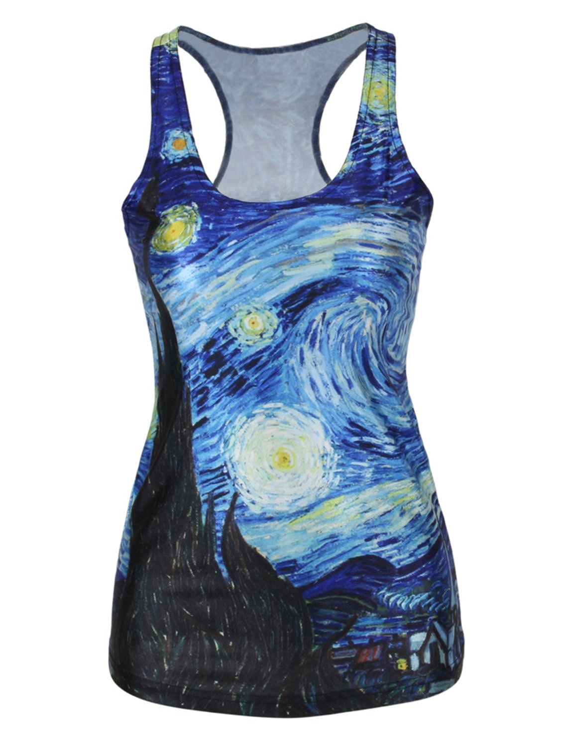 Pink Queen®women Hot Starry Night Printed Sleeveless T Shirt Tee Tank Tops