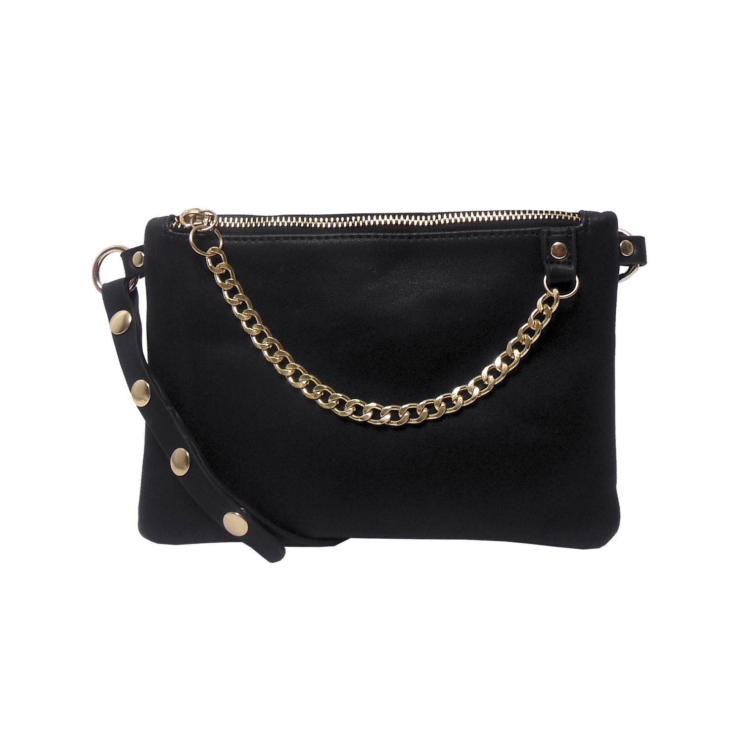 Women's Small Flat Fashion Fanny Pack with Chain - Fits up to 34 inch Waist