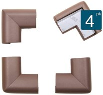 Roving Cove® 4-Piece 'Safe Corner® Cushion' - VALUE PACK - COFFEE; Premium Childproofing Corner Guard - PRE-TAPED CORNERS; Child Safety Home Safety Furniture and Table Edge Corner Protectors EXTRA PURE, EXTRA DENSE