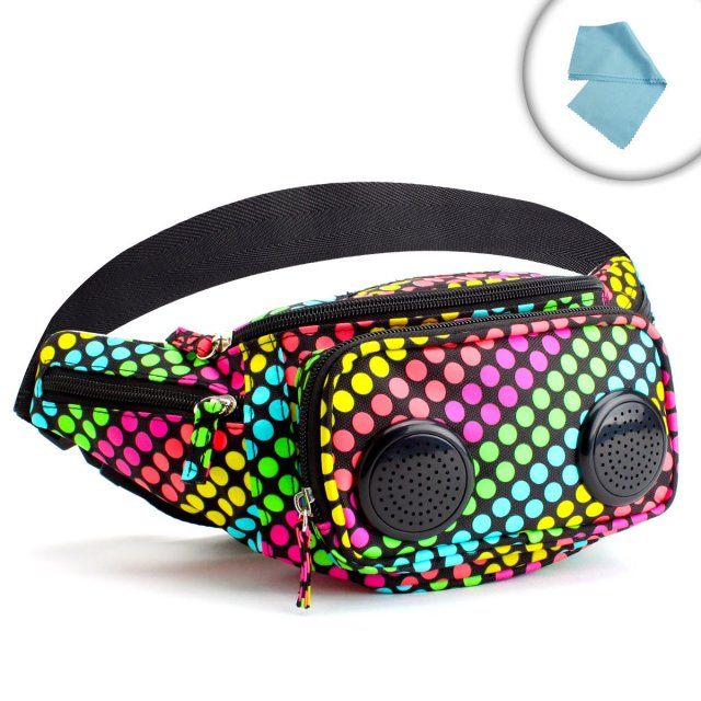 PartyPack Neon Fanny Pack with Built-In Stereo Speakers / Amplifier / Compartments for Vaporizer Pens , E-Cigarettes and More! *Includes Bonus Cleaning Cloths