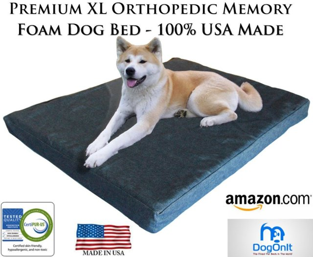 "Extra Large Memory Foam Orthopedic Dog Bed - 40"" X 35"" X 4"" 100% Made in USA- Best XL Luxury Large Breed, Washable Pet Bed You Can Buy 