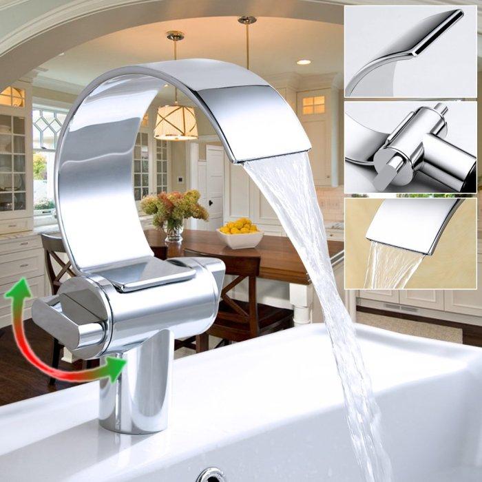 Auralum® Wasserhahn Waschtischarmatur Armatur Für Waschbecken Waschtisch Fragezeichen Wasserfall Chrom von Auralum