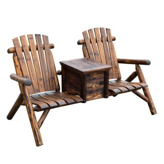 Two Seat Wooden Adirondack Chairs w/ Ice Bucket
