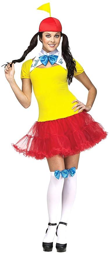 Fun World Costumes Women's Tweedle Dee Dum Adult Costume, Yellow/Red, Medium/Large