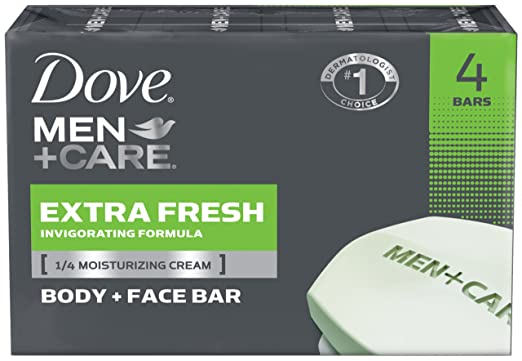 Dove Men + Care Body and Face Bar, Extra Fresh, 4 ounce, 4 Count
