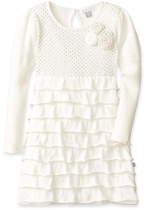 Petit Lem Little Girls' White Winter Knit Sweater Dress, Cream/Gold, 3