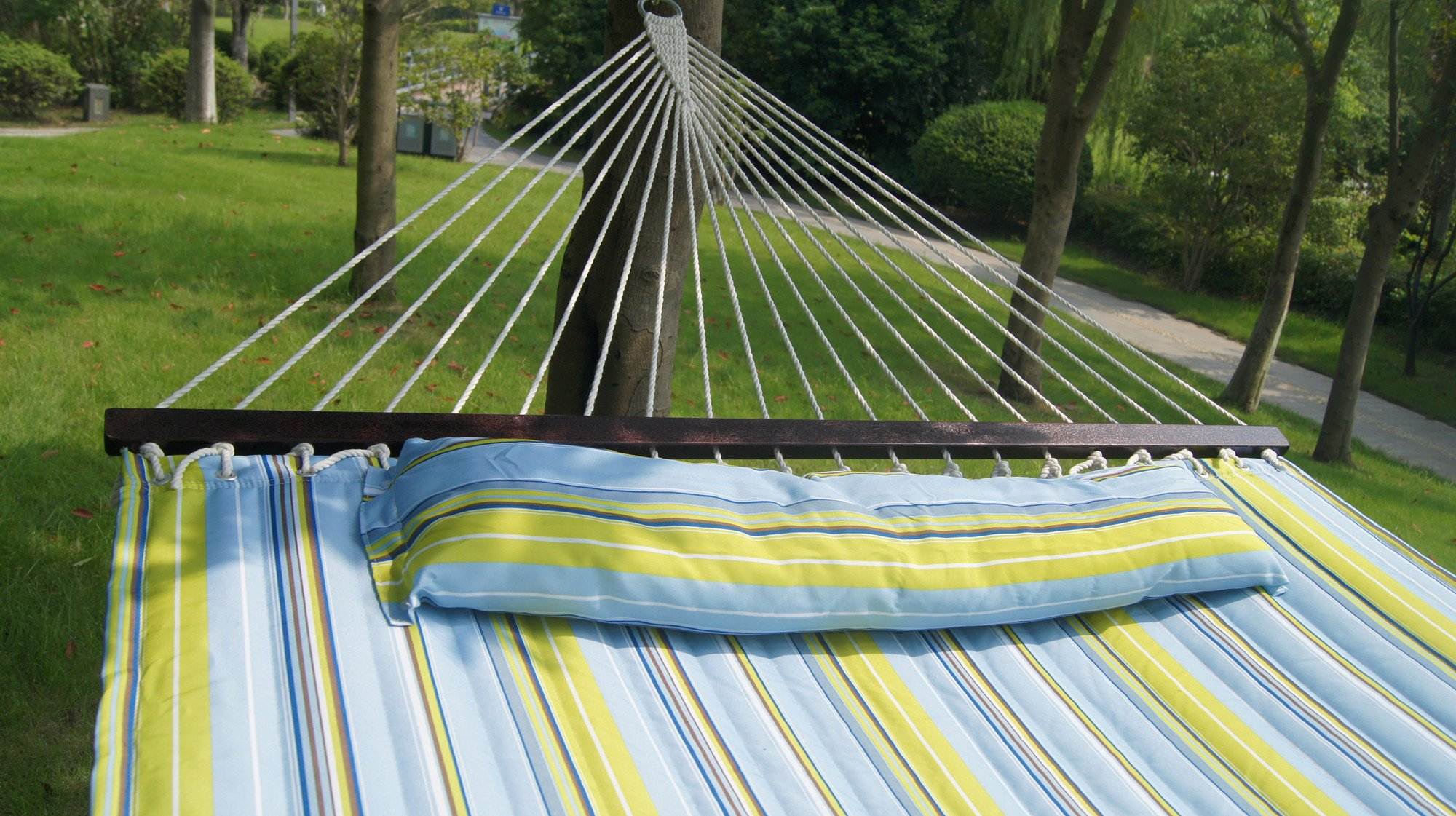 Suesport New Hammock Quilted Fabric With Pillow Double