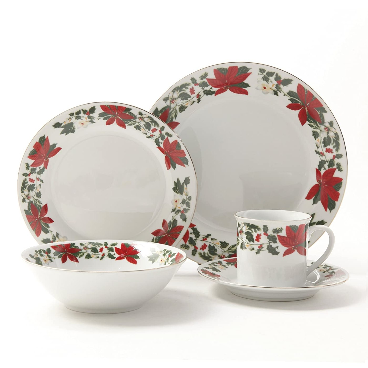 Gibson Poinsettia Holiday Dinnerware Set, 20-Piece