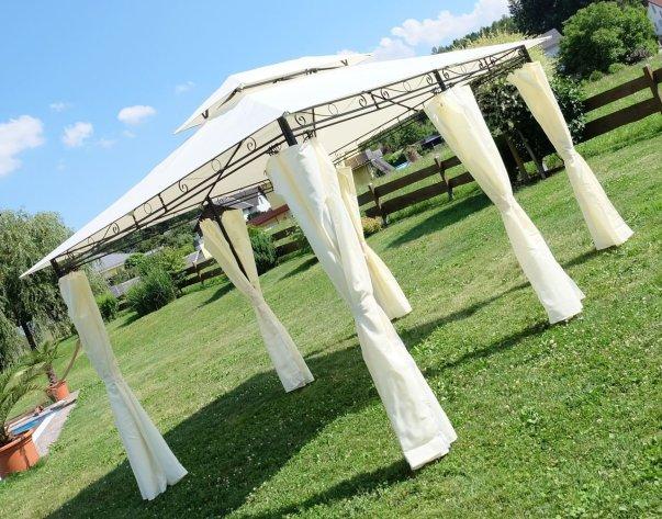 Eleganter Garten Pavillon Gartenpavillon 3x4 Meter mit wasserdichtem* Dach und 6 Vorhängen 2016-A von AS-S