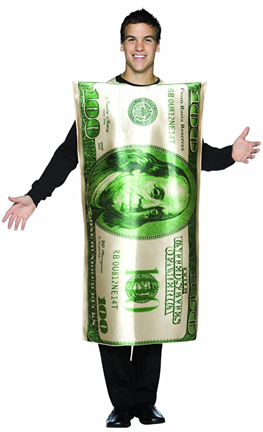 Rasta Imposta Dollar 100 Bill Costume, Green/White, One Size