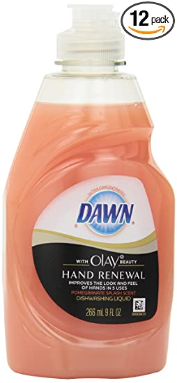 Dawn Ultra Hand Renewal Dishwashing Liquid with Olay Beauty Pomegranate Splash Scent, 9 Ounce  (Pack of 12)