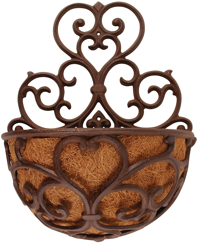 Esschert Design USA BPH51 Half Round Cast Iron Wall ... on Iron Wall Vases id=97697
