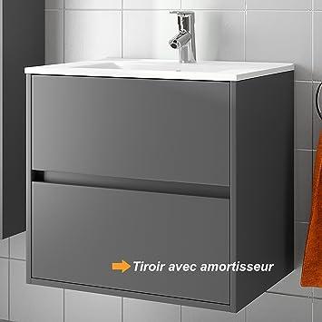 salgar meubles de salle de bains ensemble noja 700 gris mat vasque verre noir uzvjzcxm 70