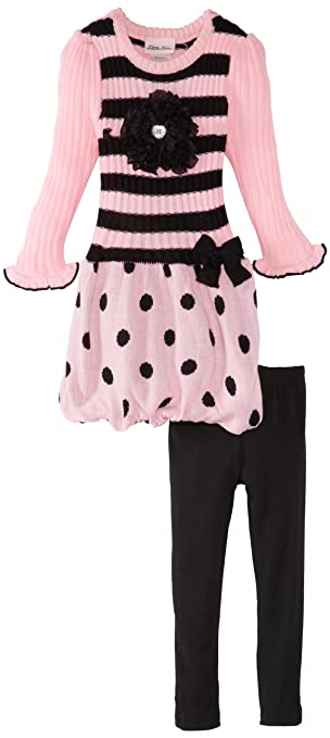 Little Lass Little Girls' 2 Piece Bubble Hem Knit Sweater Dress Set