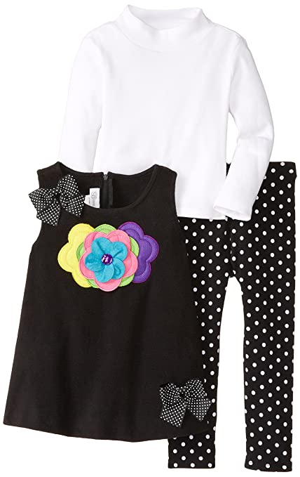 Bonnie Jean Little Girls' Fleece Flower Legging Set, Black, 2T
