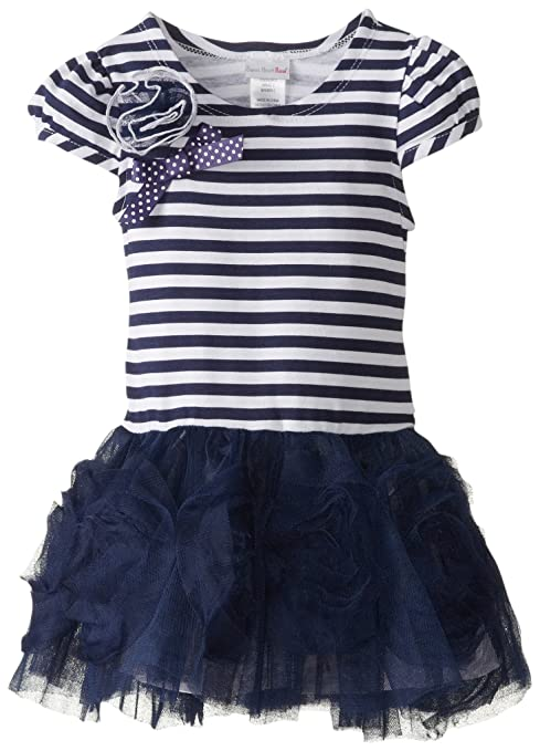 Sweet Heart Rose Little Girls' Stripe Tulle Fashion Dress, Navy, 6X
