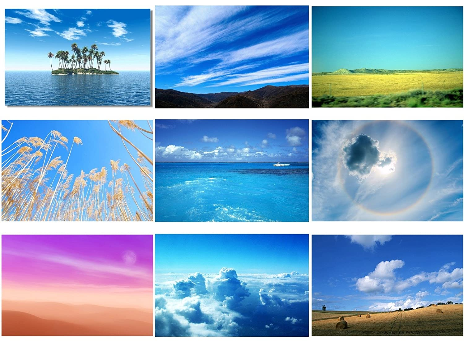 9x Poster Sky Air Cloud Sea Nature Office Room Toilets Decorate Wall Beautiful Scape Landscape View Motivational