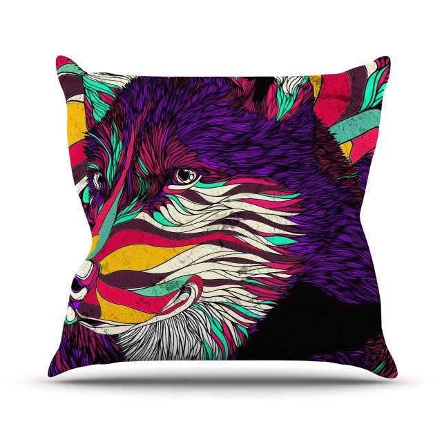 """Danny Ivan """"Color Husky"""" Outdoor Throw Pillow, 16 by 16-Inch"""