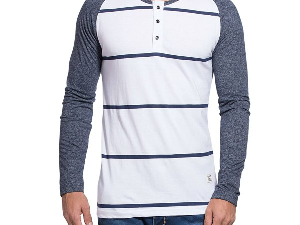 Alan Jones Striped Cotton Full Sleeves T Shirt