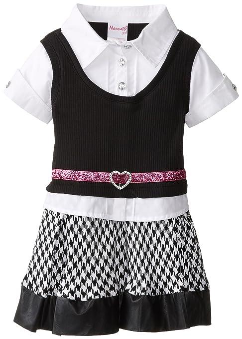 Nannette Little Girls' Rib Pleated Houndstooth Dress, Black, 2T