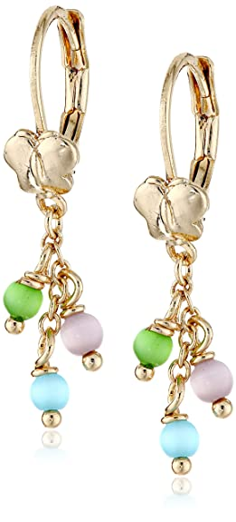 "Little Miss Twin Stars Girls' ""Cat-eyed Bead"" 14k Gold Plated Multi- Balls and Flower Leverback Earrings"