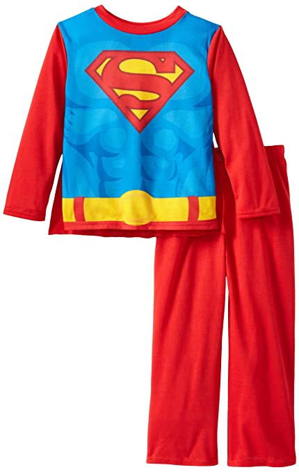 Komar Kids Little Boys' Superman Costume Sleep Set with Cape, Red, X-Small