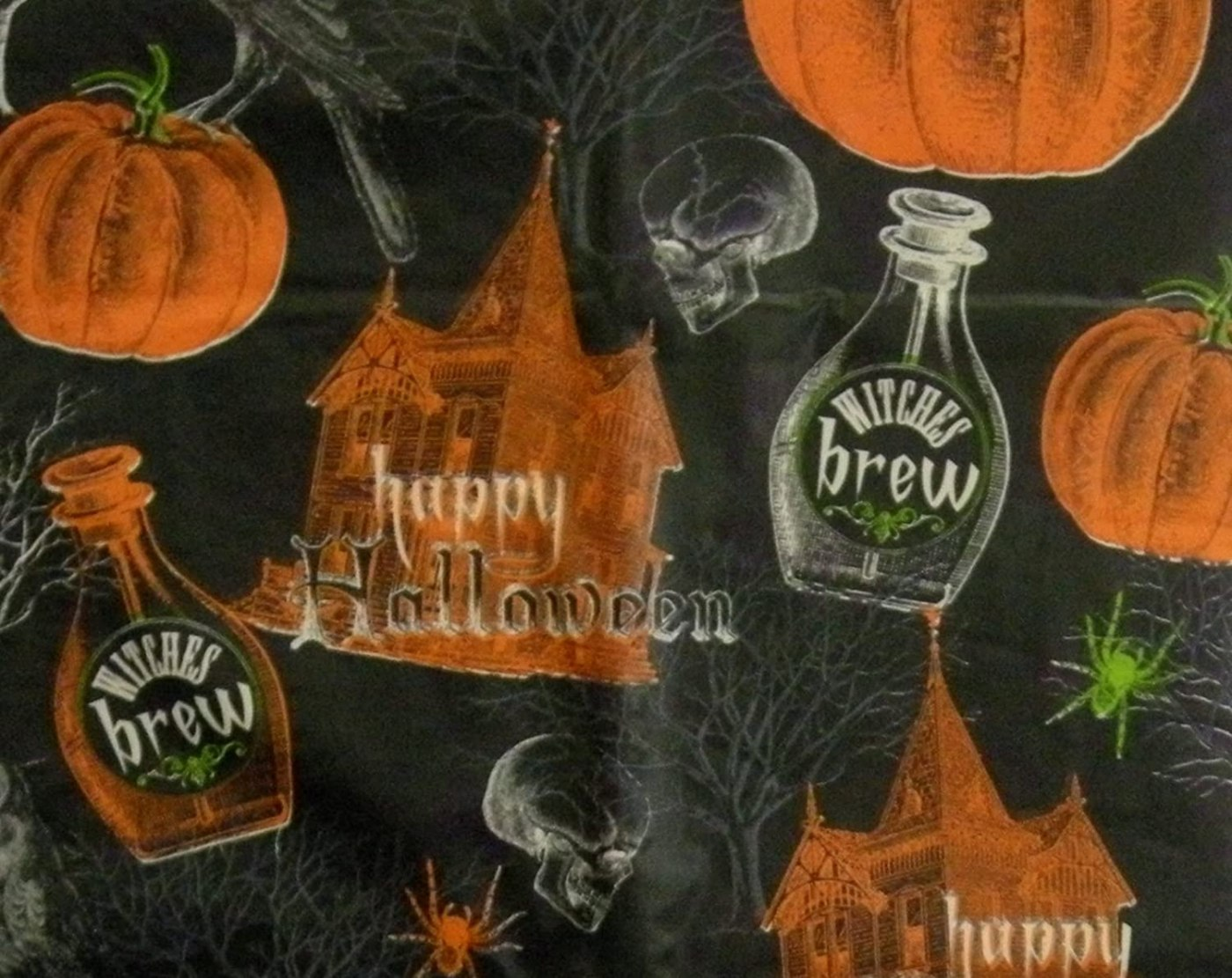 Halloween Skulls, Crows, and Haunted House Black, Orange, and Green Vinyl Tablecloth (52x90 Inch Oblong)