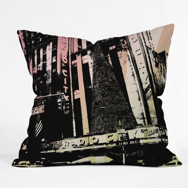 DENY Designs Amy Smith Radio City Music Hall Throw Pillow, 20-Inch by 20-Inch