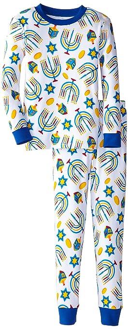 Sara's Prints Boy's Unisex Long John Pajamas, Hanukkah, 10
