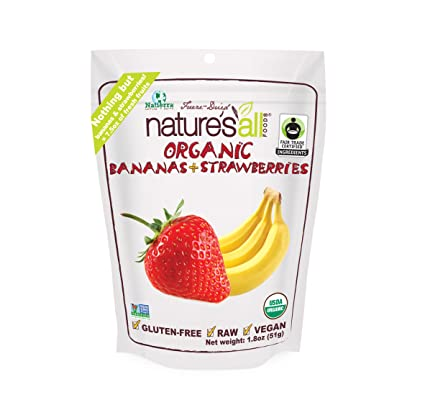 Natierra, Nature's All Foods Freeze Dried Bananas and Strawberries, 1.8 Ounce