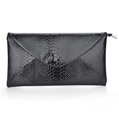 TopTie Snake Skin PU Leather Envelope Clutch - Black, Gift Idea