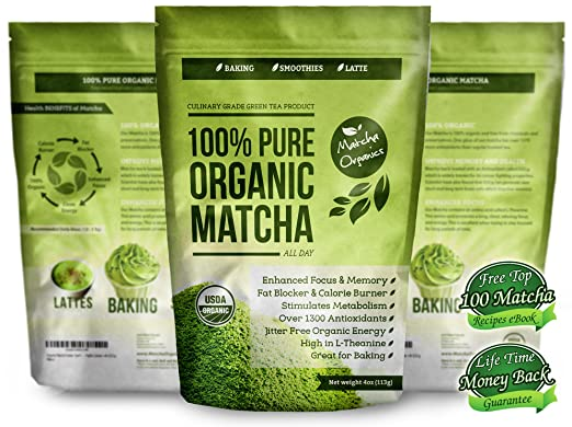100% USDA Organic Matcha Green Tea Powder Extract - Fat Burner & Weight Loss Diet Supplement & Metabolism Booster - Natural Detox All Day Energy & Mental Focus - Latte, Smoothie, Shake & Baking Mix - Vegan Superfood - Coffee Substitute - Improved Hair & Skin Health (4oz) LEAD FREE