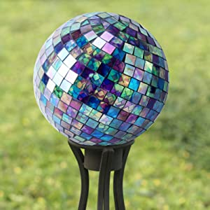 Blue Green purple 10-in Mosaic Gazing Ball