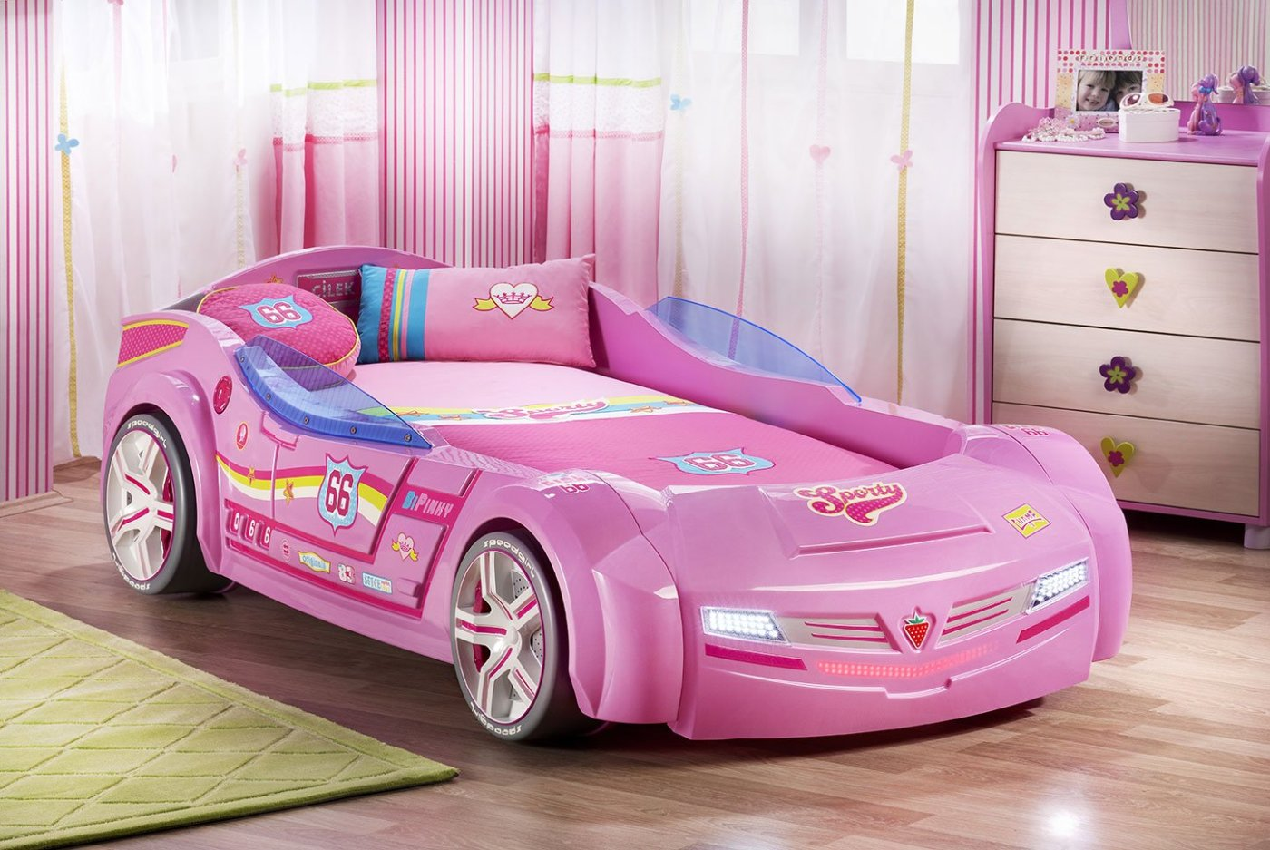 Turbo Car Bed - PRETTY IN PINK WITH MATTRESS