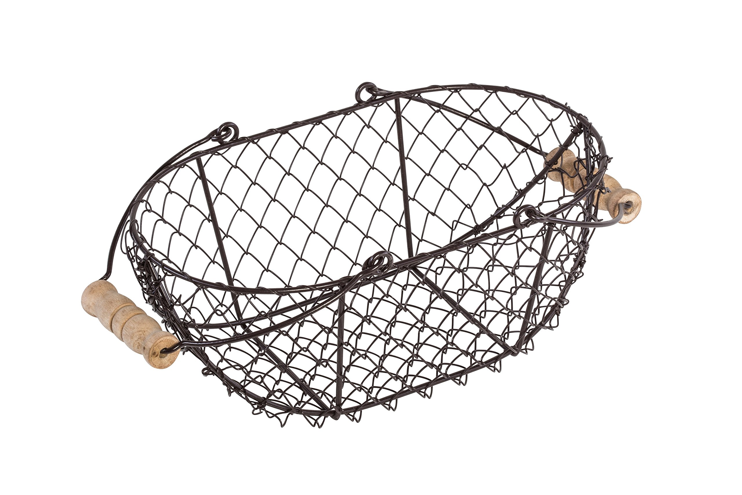 10 Oval Wire Basket With Wooden Handles
