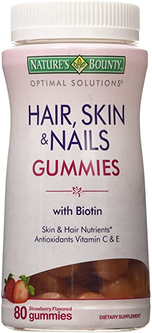 Natures Bounty Optimal Solutions Hair, Skin and Nails Gummies, 80 Count