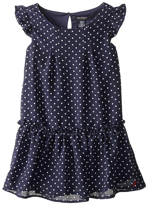 Nautica Little Girls' Polka Dot Chiffon Dress with Flutter Sleeve, EL Navy, 5