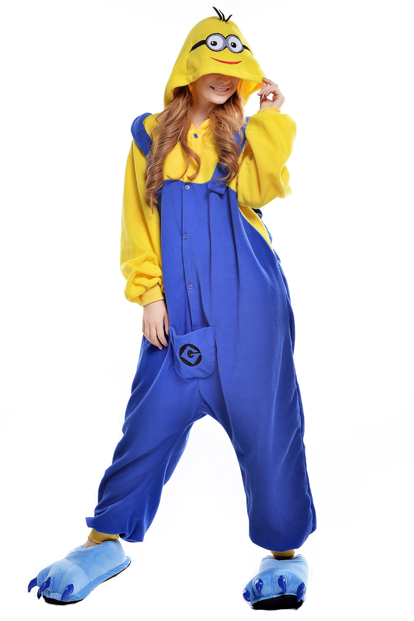 Despicable Me Minion Polar Fleece Onesie Pajamas Cosplay Wtih Slippers small medium large x-karge xxl xxxl