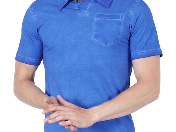 Fanideaz Cotton Stone Washed Royal Blue Polo tshirts for Men with Pocket