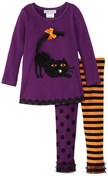 Bonnie Jean Little Girls' Purple Cat Applique Legging Set