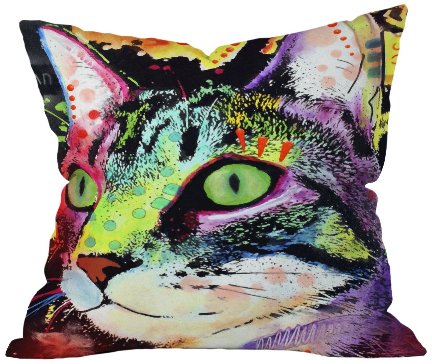 DENY Designs Dean Russo Curiosity Cat Throw Pillow, 26 by 26-Inch