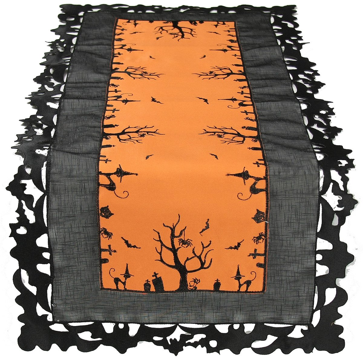 Xia Home Fashions Hallows Eve Embroidered Cutwork 15-Inch by 54-Inch Table Runner