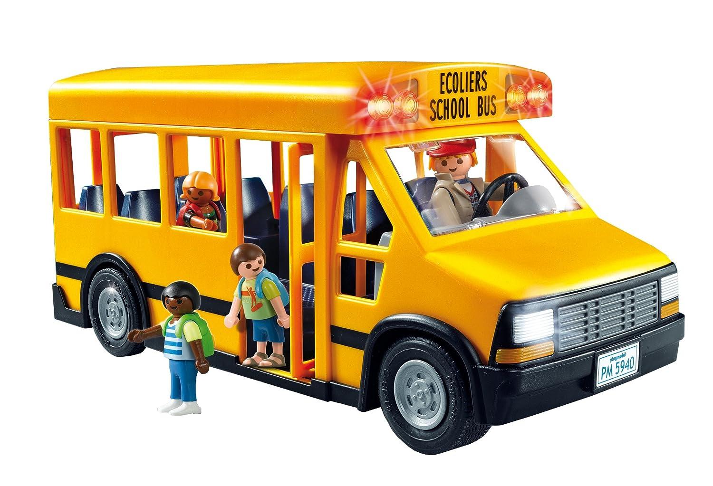 Kids Pretend Play Set Toy Playmobil School Bus Car Figures Toddler Transport Fun