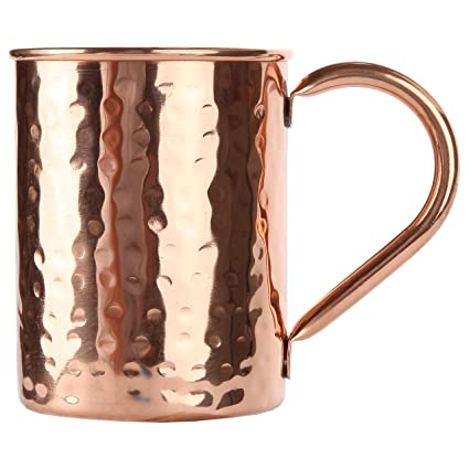 Inspired Basics Solid Moscow Mule Copper Mug Hammered Type Moscow Mule Mug 16 Oz with No Lining