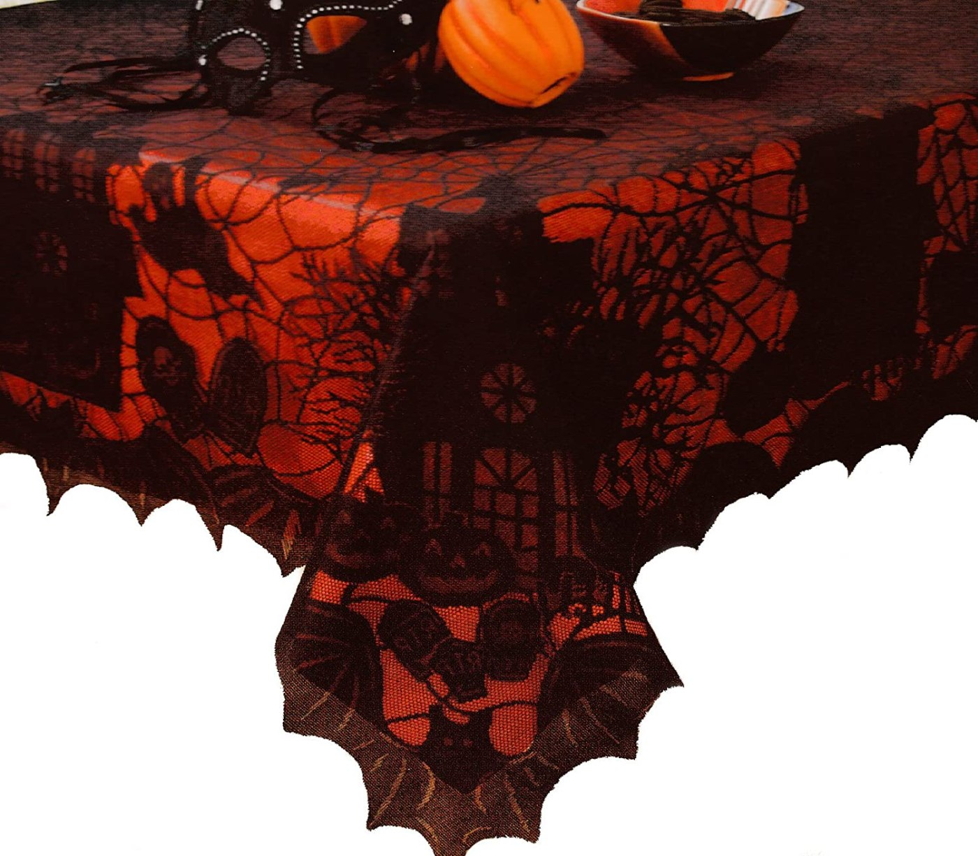 Halloween Lace Tablecloth with Vinyl Liner - 60 X 102 Oblong
