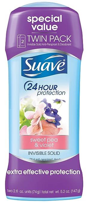 Suave Antiperspirant Deodorant, Sweet Pea and Violet 2.6 oz, Twin Pack