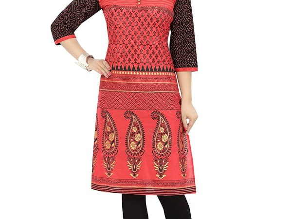 Dragaon Red Bliss Cotton Short Tunic Dress with Printed Design