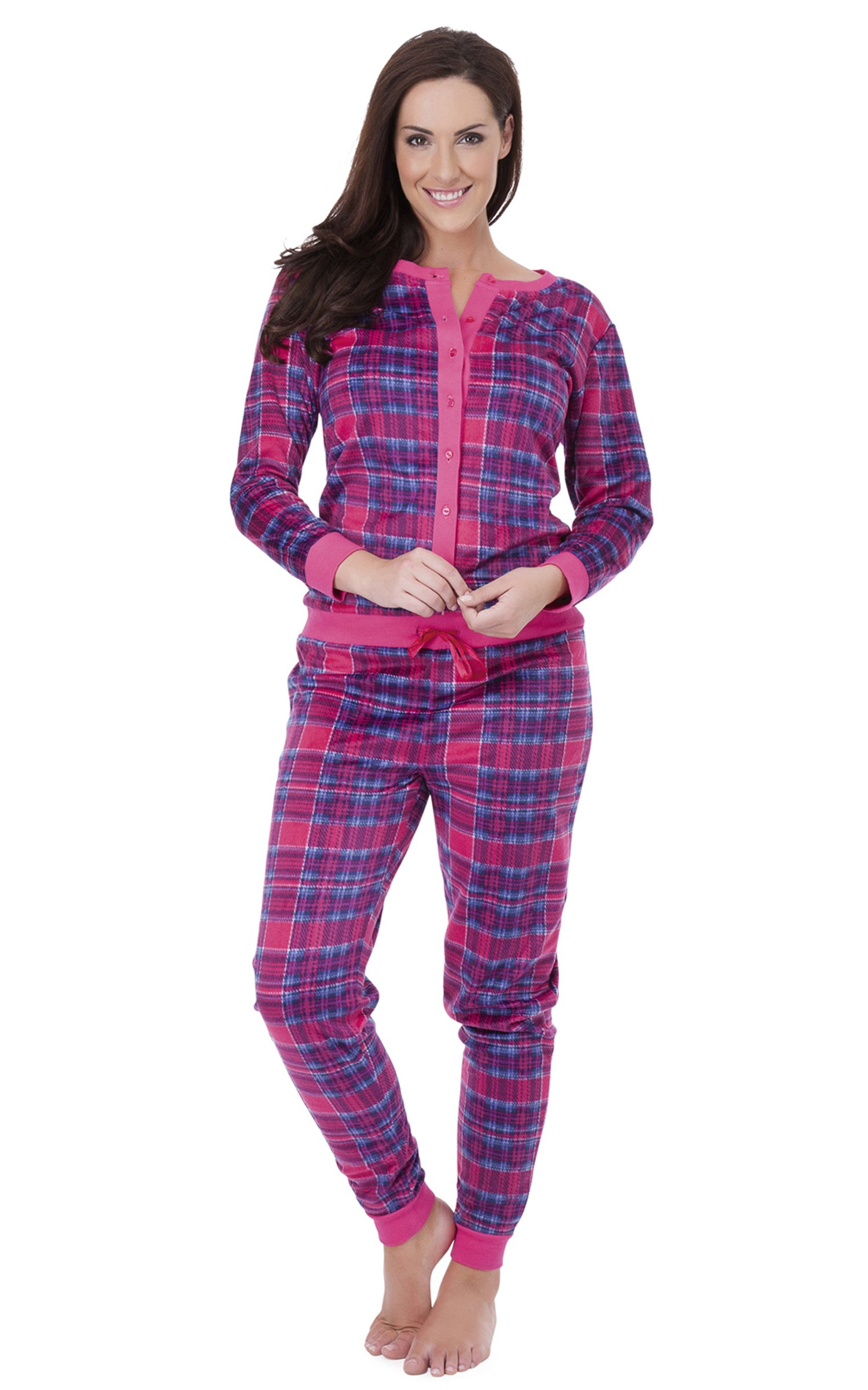 Womens Nightwear Tartan Print Pyjama Look All In One Onesie